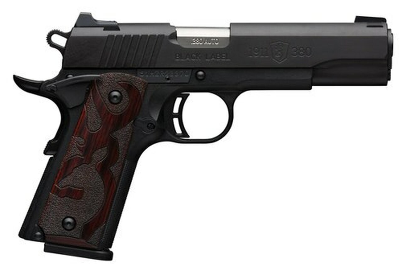 """Image of Browning 1911, .380 ACP, 4.25"""" Barrel, 8rd, Wood Grips, Black"""