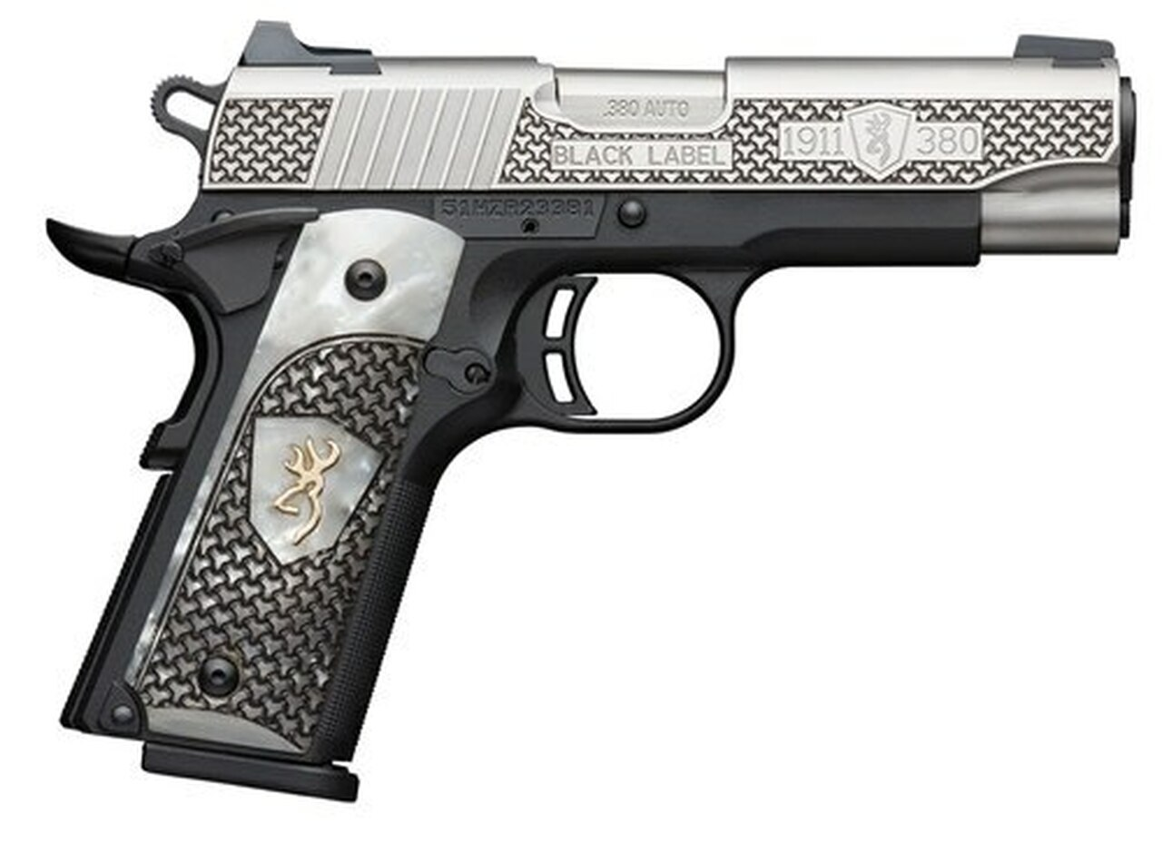 """Image of Browning 1911-380 Black Label, .380 ACP, 3.62"""" Barrel, 8rd, Pearl Grips, Black/Stainless"""