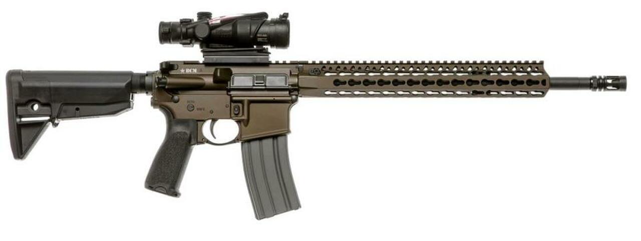 "Image of Bravo Company Recce 16 KMR-A Carbine 223 Rem/556NATO, 16"" Barrel, 1:7 Twist, Dark Bronze Finish, BCMGUNFIGHTER Mod 0 Stock, BCMGUNFIGHTER Mod 3 Pistol Grip, 30Rd, KMR Alpha 15"" Handguard, BCMGUNFIGHTER Mod 0 Compensator"