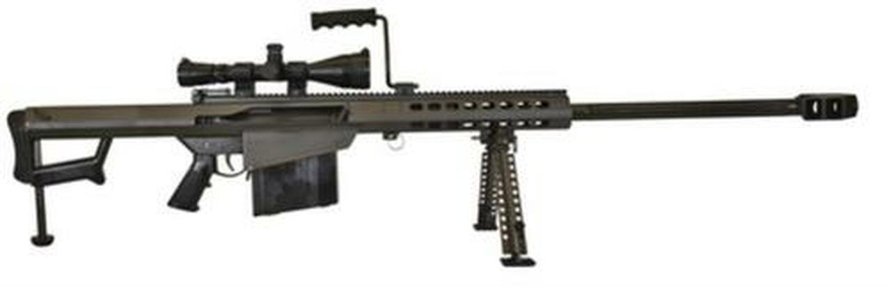 "Image of Barrett 82A1 Rifle System .50 BMG 29"", Leupold Mk4 4.5-14x50mm Scope, Mounted, Monopod, 10 Rnd Mag"