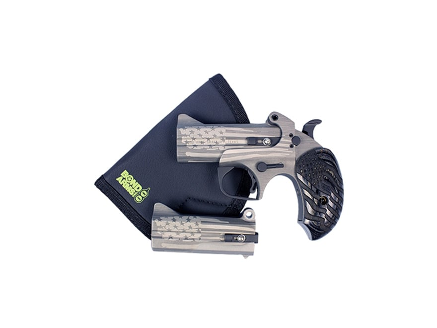 """Image of Bond Arms Old Glory Pistol 45 Long (Long Colt) 410 Bore 3.5"""" Barrel 2-Round Stainless, American Flag Engraved Grips, Extra 357 Magnum/38 Special Barrel Sticky Holster"""