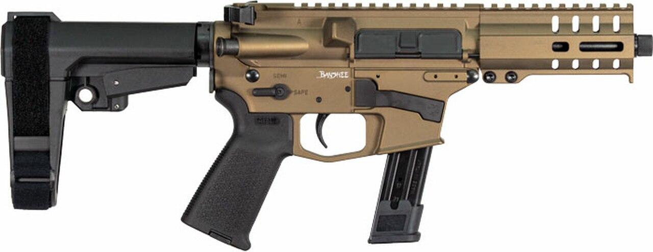 "Image of CMMG Banshee 300 MK17 9mm 5"" 21+1 Burnt Bronze Cerakote Receiver CMMG 6 Position RipBrace Stock"