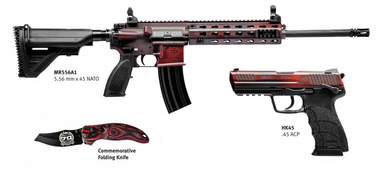 Image of HK 70th Anniversary Kit 1 of 70 MR556A1 & HK45, Red Battle Worn Cerakote, Explorer Case