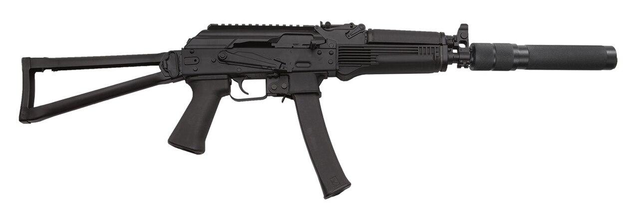"Image of Kalashnikov KR-9S 9mm, 16"" Barrel w/Faux Suppressor, Vityaz Folder, Black, 30rd"
